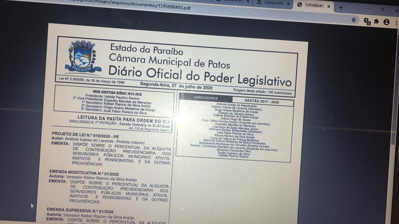 Sindicalista afirma que aumento de 14% na previdência é covardia para com os servidores públicos municipais de Patos
