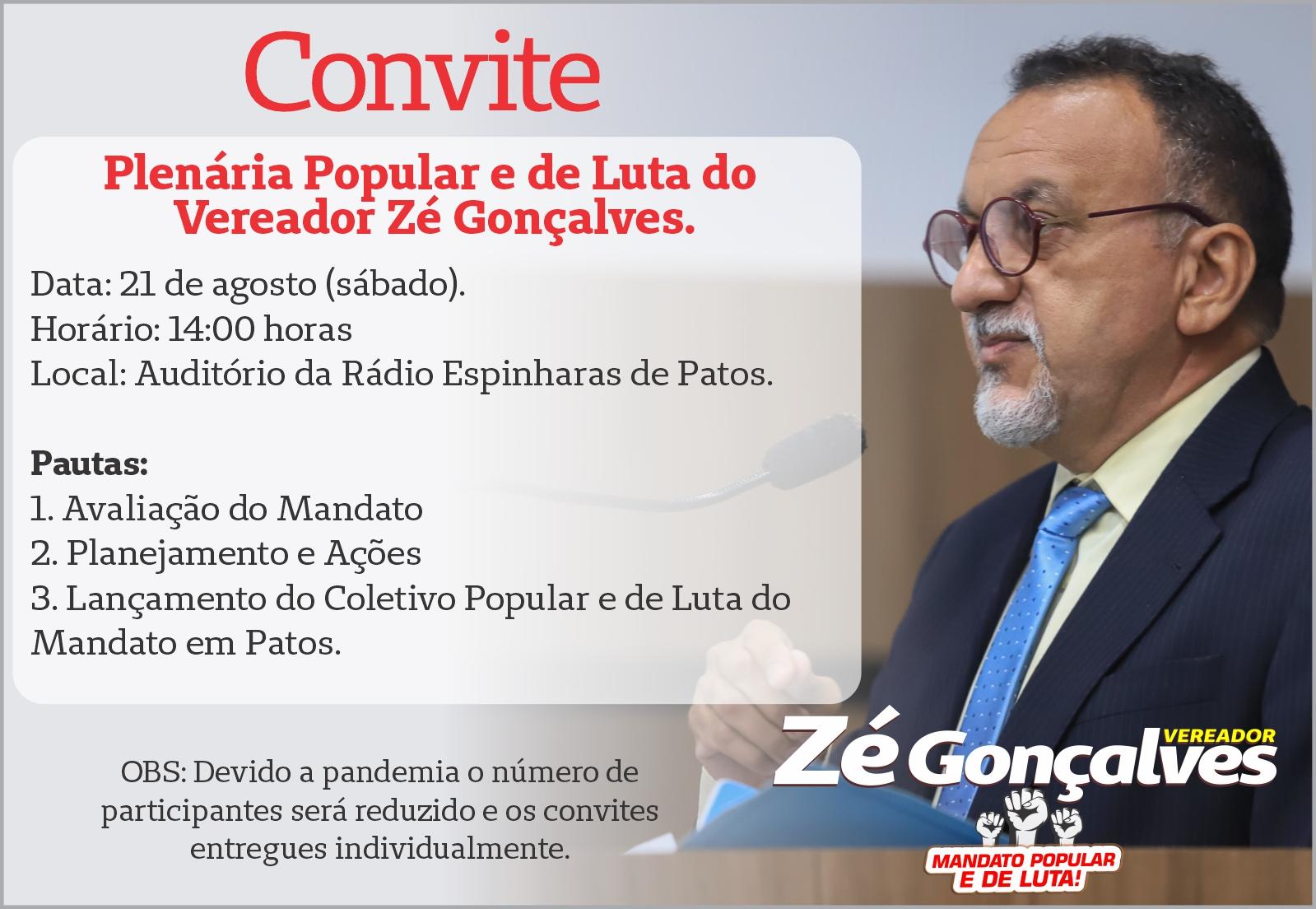 Zé Gonçalves fará Plenária Popular para avaliar o mandato em Patos.