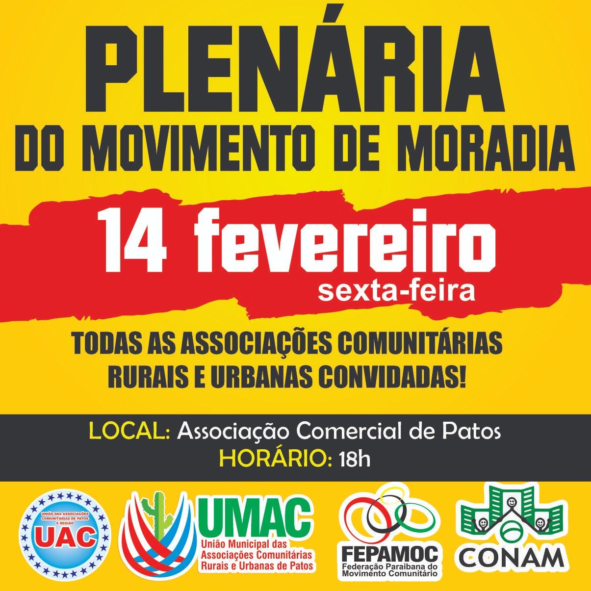 Entidades realizam Plenária do Movimento de Moradia em Patos